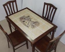 Реставрация и декорирование кухонного стола плиткой
