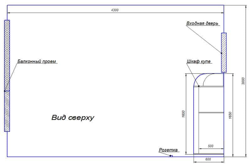 Замеры помещения для шкафа купе