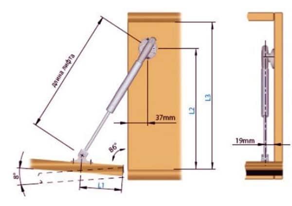Схема установки мебельного газлифта на кухонный шкаф