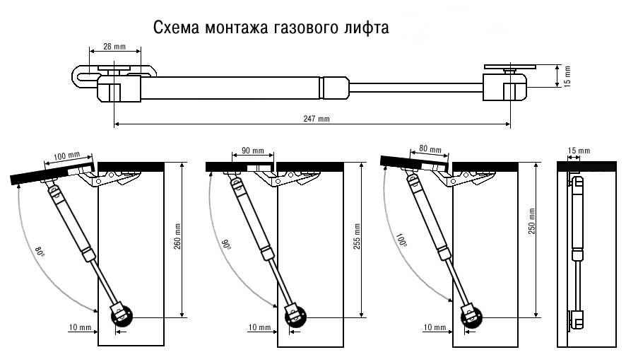Схема монтажа газового амортизатора