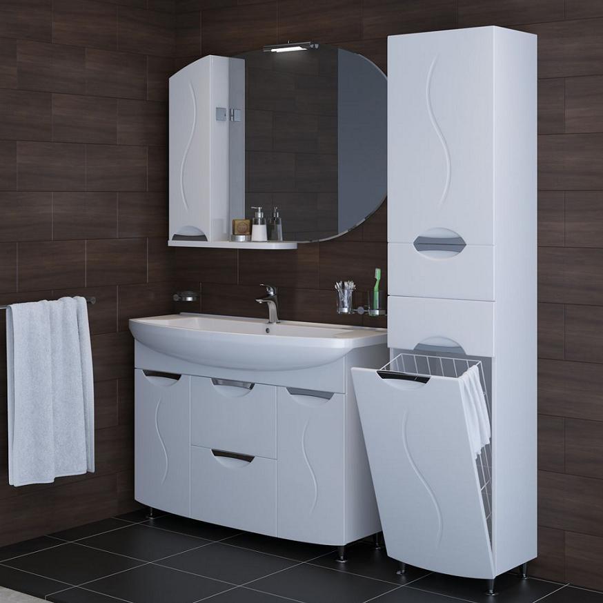 Шкаф-пенал с корзиной для ванной комнаты