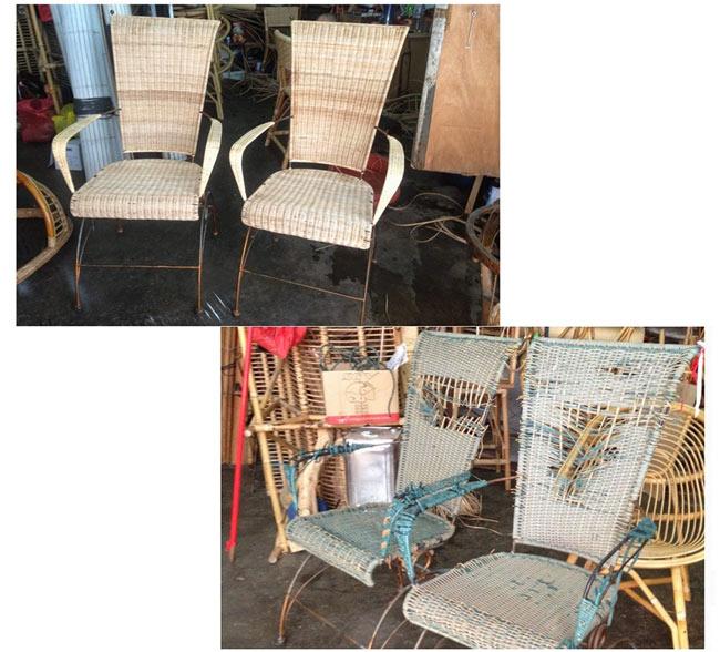 Отреставрированные плетенные стулья