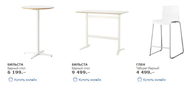 Каталог барной мебели ИКЕА с ценами