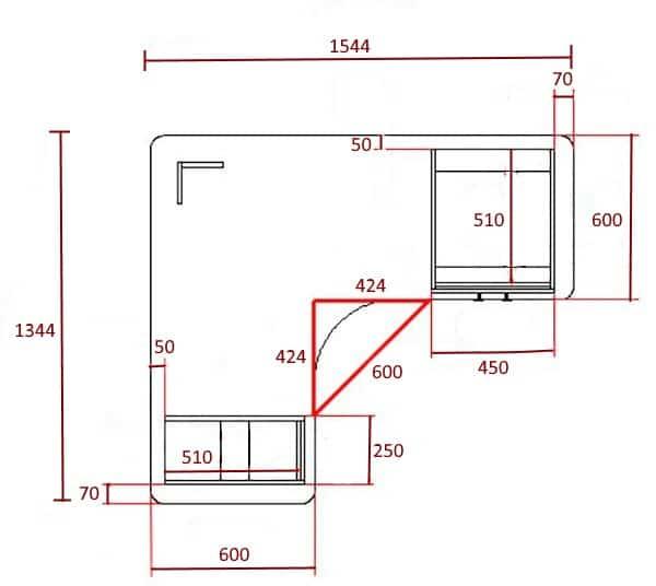 Схема и размеры углового компьютерного стола, вид сверху