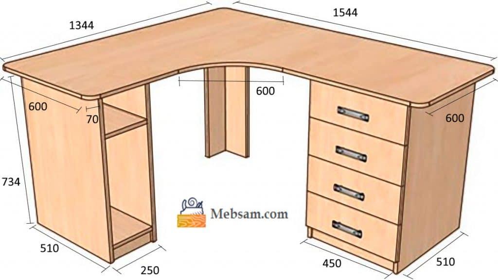 Mebsam.com - Схема углового компьютерного стола с размерами
